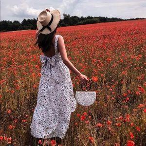Zara Floral Maxi Dress Ruffled L 140/mr